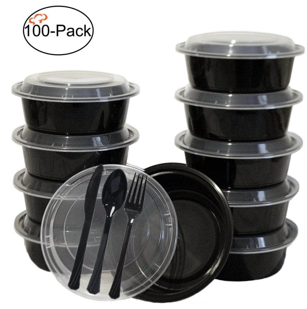 Selection tiger chef round meal prep plastic bowl portion control bento box food containers with leakproof lids microwave freezer safe reusable bpa free 32 ounce 100 pack 100 sets of utensils included