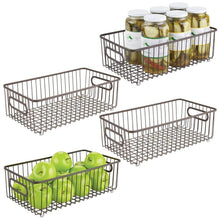 Load image into Gallery viewer, Top mdesign metal farmhouse kitchen pantry food storage organizer basket bin wire grid design for cabinets cupboards shelves countertops holds potatoes onions fruit large 4 pack bronze