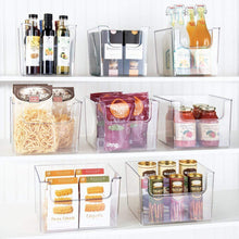 Load image into Gallery viewer, Selection mdesign plastic open front food storage bin for kitchen cabinet pantry shelf fridge freezer organizer for fruit potatoes onions drinks snacks pasta 12 wide 4 pack clear