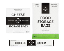 Load image into Gallery viewer, Top rated formaticum collection cheese storage bags 75 food storage bags 50 and cheese storage paper with adhesive labels 75