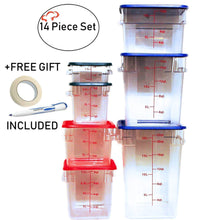 Load image into Gallery viewer, Organize with tiger chef food storage square polycarbonate container set containers with lids commercial grade 2 4 6 8 12 18 22 quart 14 piece