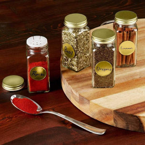 Kitchen 12 square clear glass bottles containers jars 4oz with gold metal lids and shaker tops empty organizer set deluxe decorative modern spices seasoning food crafts gifts