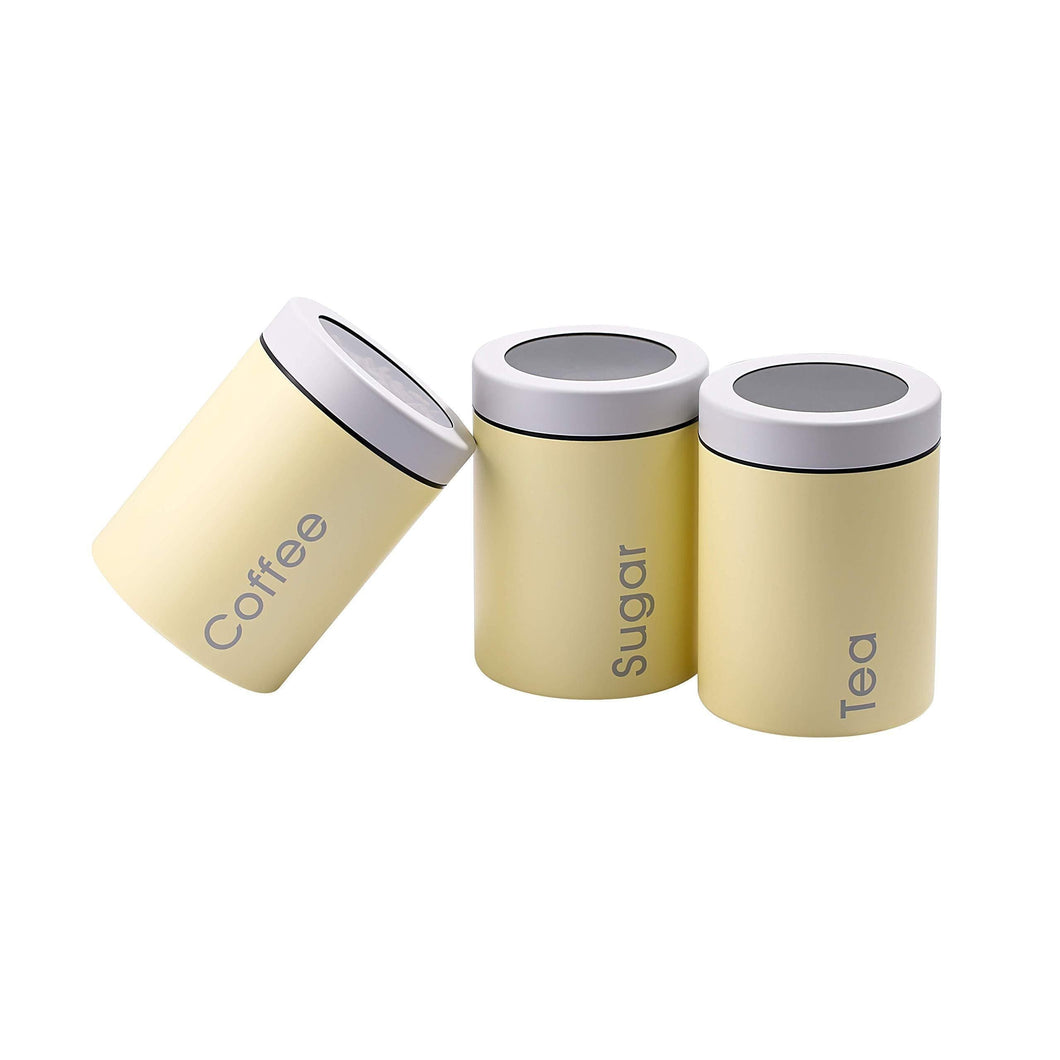 Great adzukio modern stylish canisters sets for kitchen counter 3 piece canister for tea sugar coffee food storage container multipurpose light yellow
