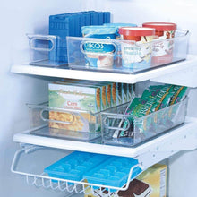 Load image into Gallery viewer, Selection mdesign plastic kitchen pantry cabinet refrigerator or freezer food storage bins with handles organizers for fruit yogurt drinks snacks pasta condiments set of 4 clear