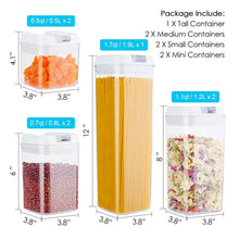 Load image into Gallery viewer, Storage airtight food storage containers vtopmart 7 pieces bpa free plastic cereal containers with easy lock lids for kitchen pantry organization and storage include 24 free chalkboard labels and 1 marker