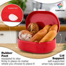 Load image into Gallery viewer, Order now bread box red carbon steel large capacity sturdy metal food storage containers and bread boxes for kitchen counters retro countertop breadbox for loaves 15 7 x 10 8 x 7 inches