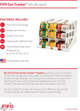 Load image into Gallery viewer, Shop here fifo can tracker stores 54 cans rotates first in first out canned goods organizer for cupboard pantry and cabinet food storage organize your kitchen made in usa