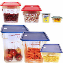 Load image into Gallery viewer, Related tiger chef food storage square polycarbonate container set containers with lids commercial grade 2 4 6 8 12 18 22 quart 14 piece
