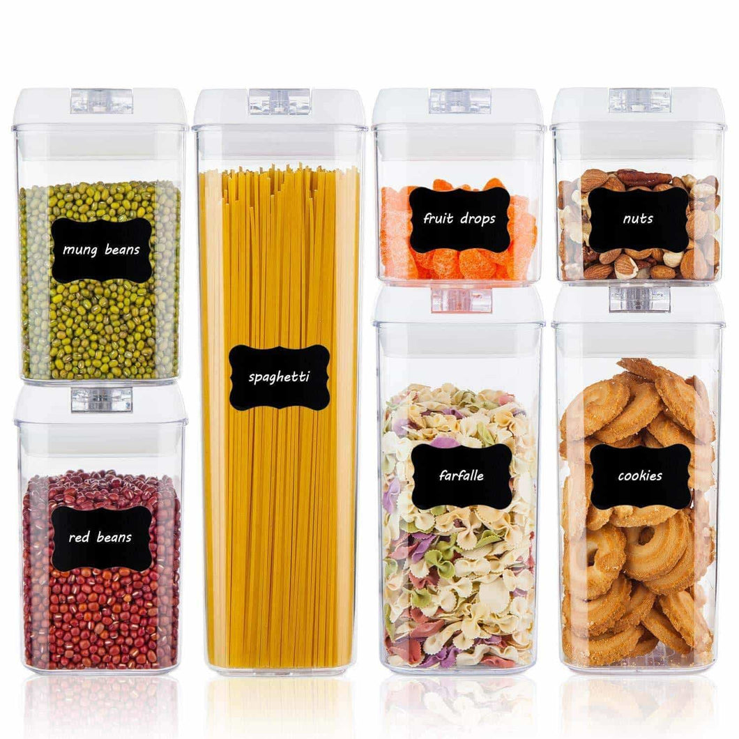 Save on airtight food storage containers vtopmart 7 pieces bpa free plastic cereal containers with easy lock lids for kitchen pantry organization and storage include 24 free chalkboard labels and 1 marker