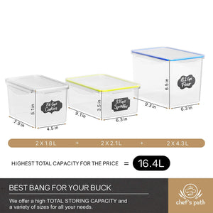 Top chefs path food storage containers flour container great for sugar baking supplies airtight kitchen pantry bulk food canisters bpa free 6 pc set 8 labels pen