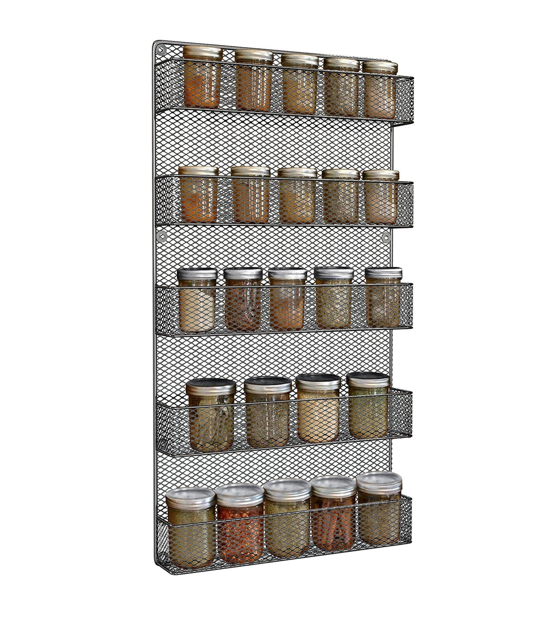 Spice Rack Wall Mount- Spice Rack Organizer- Use as a Wall Mounted Spice Rack- Great Storage Capacity for Kitchen Spicy Shelf- The Best Spice Rack -5 Tier Shelves