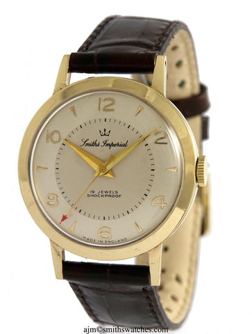 IMPERIAL MADE IN ENGLAND SMITHS GOLD GENTS WRISTWATCH MODEL I 507 WITH BOX PAPER