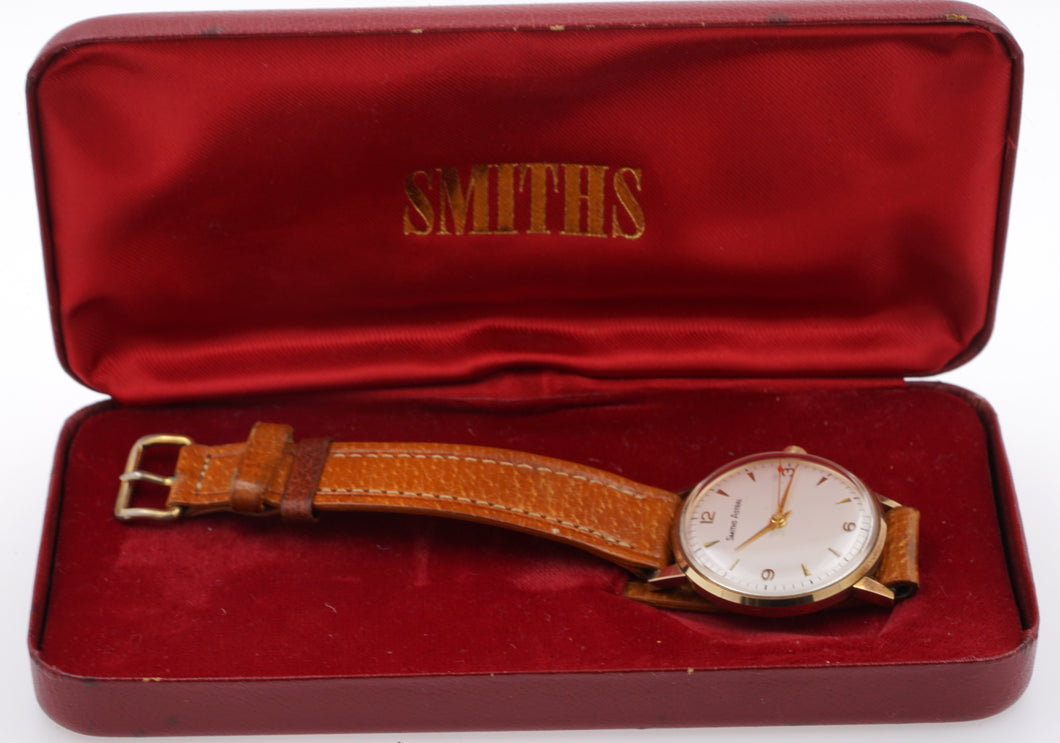 SMITHS MADE IN ENGLAND SOLID 9CT GOLD VINTAGE GENTS WRISTWATCH BRITISH RAIL 1969 WITH BOX