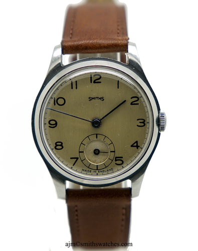 SMITHS EARLY ALL STAINLESS STEEL 12-15 MADE IN ENGLAND WRISTWATCH PRE-SERIES