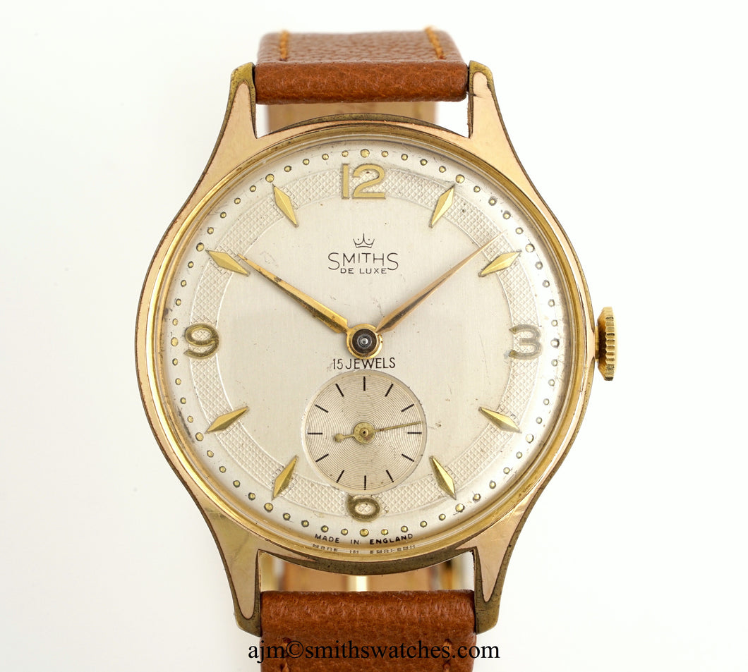 DELUXE SMITHS LARGE GENTS ENGLISH WRISTWATCH MODEL A325 A RARE MODEL c 1955/6