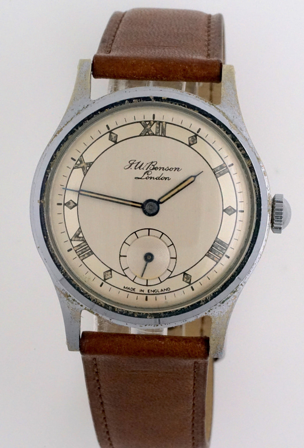 J W BENSON LONDON SMITHS MADE IN ENGLAND ROMAN NUMERAL DIAL DENNISON AQUATITE CASE C 1953 3