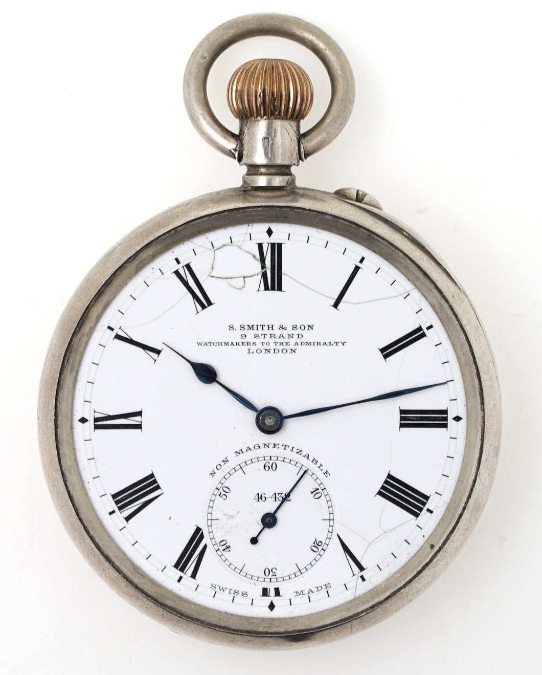 SMITHS EARLY S SMITH & SON LONGINES SILVER OPEN FACED POCKET WATCH 1904