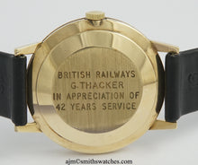 ASTRAL SMITHS MADE IN ENGLAND SOLID 9CT GOLD VINTAGE GENTS WRISTWATCH BRITISH RAIL 1969