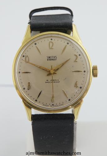 EVEREST SMITHS GOLD PLATED 19 JEWEL SMITHS MADE IN ENGLAND WRISTWATCH OVERHAULED C 1960