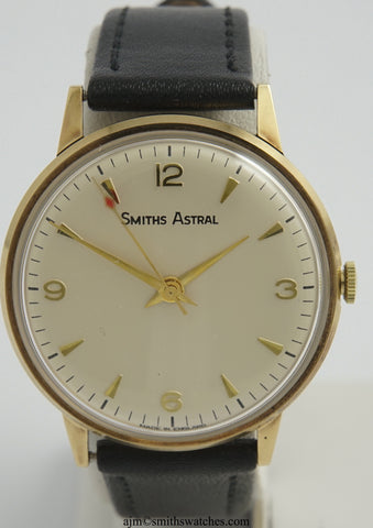 ASTRAL SMITHS MADE IN ENGLAND SOLID 9CT GOLD VINTAGE GENTS WRISTWATCH AUTOMOTIVE 1973 DEDICATION