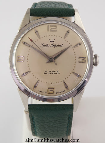 IMPERIAL SMITHS ALL STAINLESS STEEL GENTS ENGLISH WRISTWATCH EARLY 1961 FULLY OVERHAULED