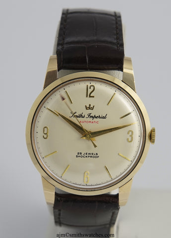 IMPERIAL SMITHS 9CT GOLD AUTOMATIC ENGLISH WRISTWATCH NEAR MINT IN SMITHS IMPERIAL AUTOMATIC SIGNED BOX