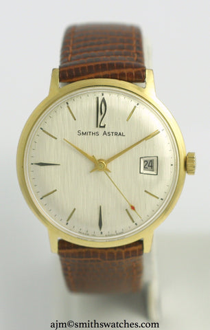 ASTRAL SMITHS DATE 17 JEWEL GOLD PLATED ENGLISH WRISTWATCH SERVICED