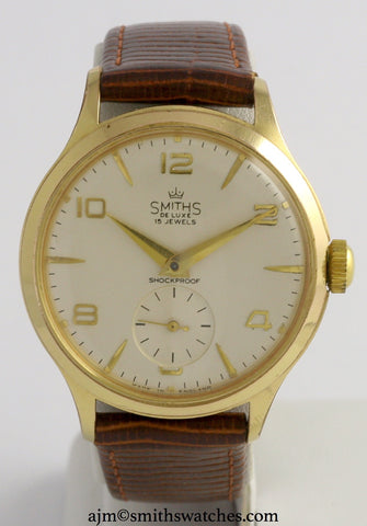 DELUXE SMITHS 15 JEWEL GOLD PLATED SMITHS MADE IN ENGLAND WRISTWATCH OVERHAULED C1960