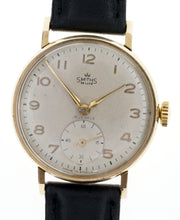 DELUXE SMITHS ENGLISH GENTS 9CT GOLD WRISTWATCH MORRIS MOTORS GOLDEN  JUBILEE 1955