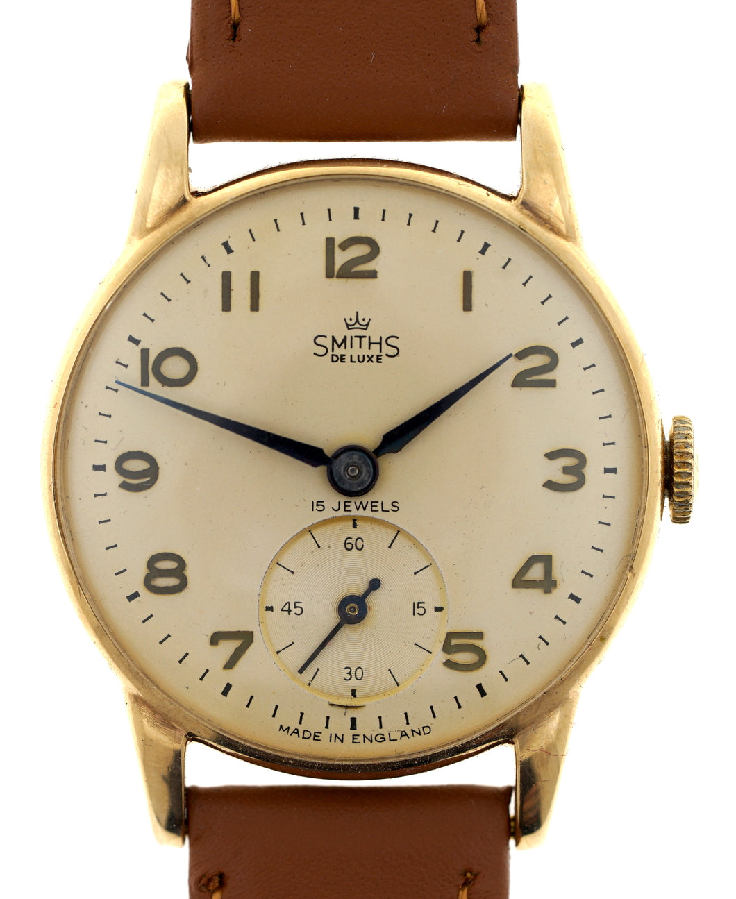 Copy of DELUXE SMITHS 9CT GOLD BRITISH RAIL WRISTWATCH IN GOOD CONDITION c 1957