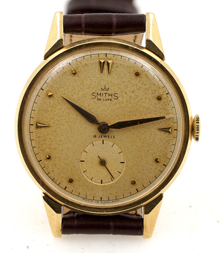 DELUXE SMITHS 18 CARAT 18 JEWEL TOP OF THE RANGE LARGER WRISTWATCH SERVICED .