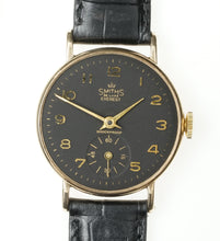 EVEREST SMITHS MATT BLACK CUSTOM FINISHED DIAL 15 JEWEL 9CT GOLD SERVICED