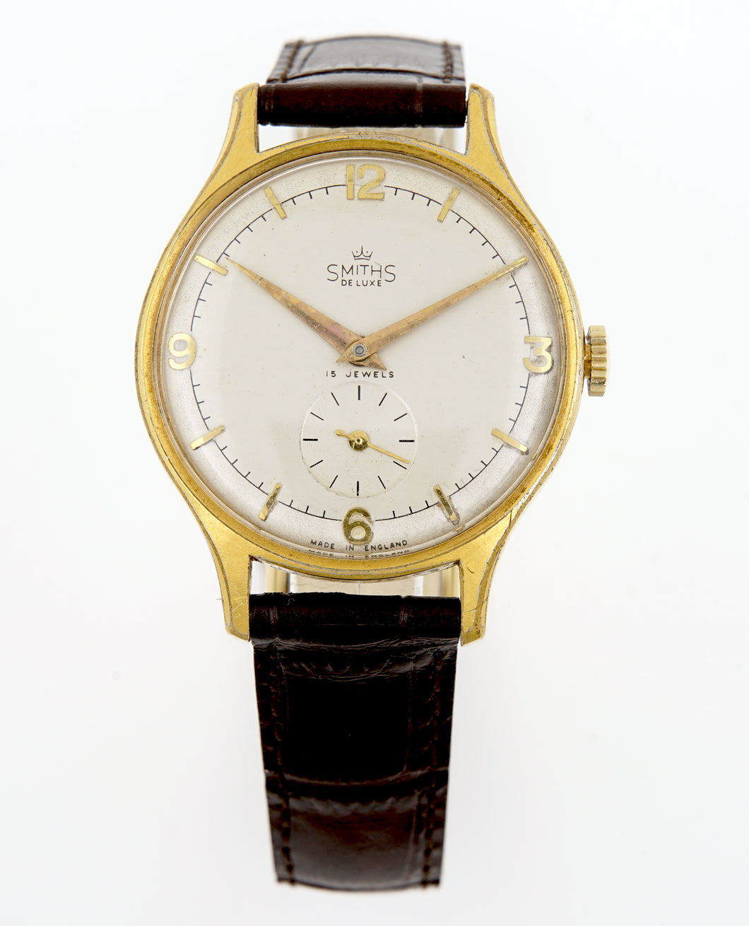 DELUXE SMITHS LARGE GENTS ENGLISH WRISTWATCH MODEL A325 A RARE MODEL c 1955/6 2