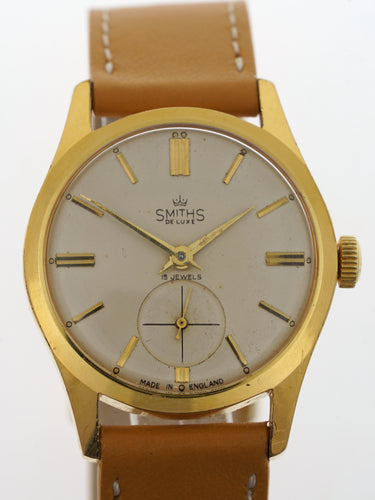 DELUXE SMITHS GENTS GOLD PLATED WATCH 50'S EXCELLENT CONDITION