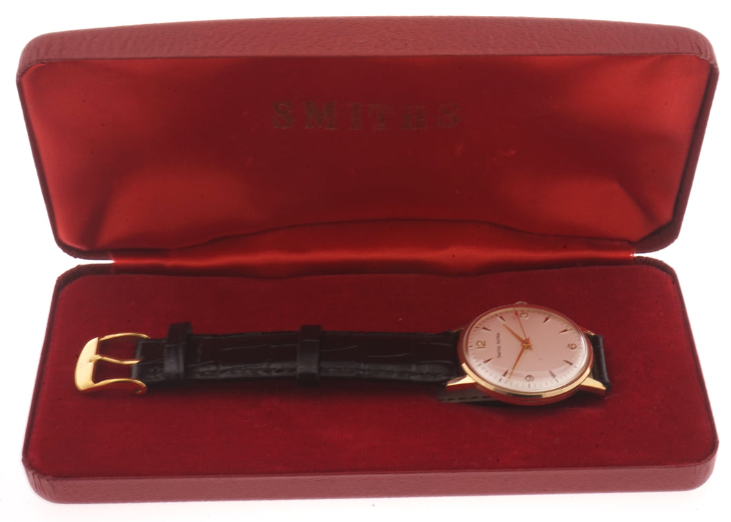 SMITHS MADE IN ENGLAND SOLID 9CT GOLD VINTAGE GENTS WRISTWATCH BRITISH RAIL WITH BOX