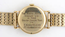 SMITHS MODEL A501 1955 AUSTIN MOTOR COMPANY 9 CT GOLD ENGLISH WRISTWATCH GOLD BRACELET WITH BOX PAPER