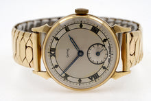 SMITHS EARLY SOLID 9CT GOLD 1946 12-15 HORN LUG GENTS WRISTWATCH IN MINT CONDITION