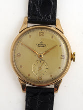 SMITHS MADE IN ENGLAND LARGE SIZED  15 JEWEL 9CT GOLD WRISTWATCH C 1953  WITH BOX