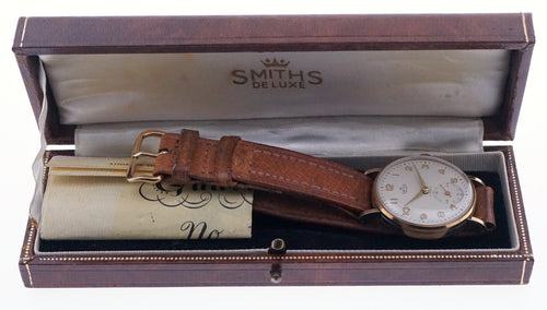 SMITHS MADE IN ENGLAND SOLID 9CT GOLD GENTS WRISTWATCH WITH BOX PAPER MINT