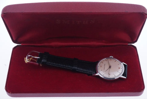 SMITHS ALL STAINLESS STEEL MADE IN ENGLAND WRISTWATCH 1960's NEAR MINT WITH BOX