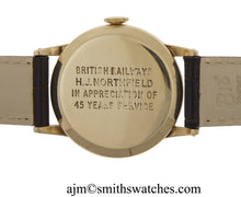 DELUXE SMITHS 9CT GOLD BRITISH RAIL ISSUE LONG SERVICE WATCH GOOD WORKING ORDER
