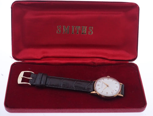 SMITHS MADE IN ENGLAND SOLID 9CT GOLD VINTAGE GENTS WRISTWATCH BRITISH RAIL 1969 NEAR MINT WITH BOX