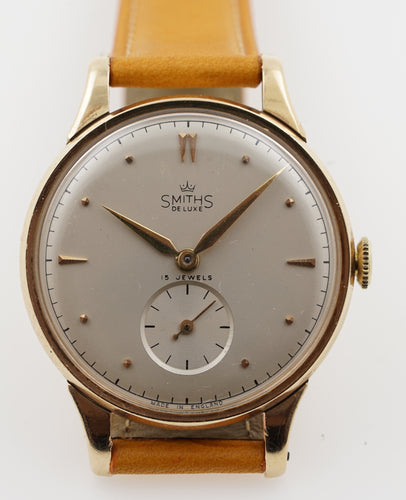 DELUXE SMITHS MADE IN ENGLAND LARGE SIZED 15 JEWEL 9CT GOLD WRISTWATCH C 1956