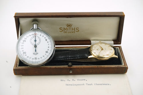 SMITHS BRISTOL AVIATION 9CT DENISON CASED WATCH WITH BOX PAPERS EXTRAS EXCELLENT