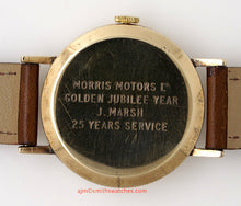 DELUXE SMITHS ENGLISH GENTS 9CT GOLD WRISTWATCH MORRIS MOTORS GOLDEN JUBILEE