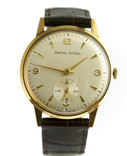 ASTRAL SMITHS MADE IN ENGLAND SOLID 9CT GOLD VINTAGE GENTS WRISTWATCH BRITISH RAIL 1967