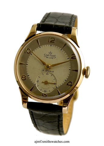 DELUXE MADE IN ENGLAND SMITHS A504 WRISTWATCH 9CT GOLD BOX PAPER