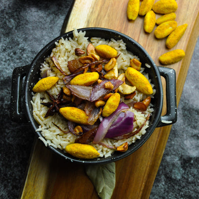 Kerala Coconut Curry Pili Nut Rice