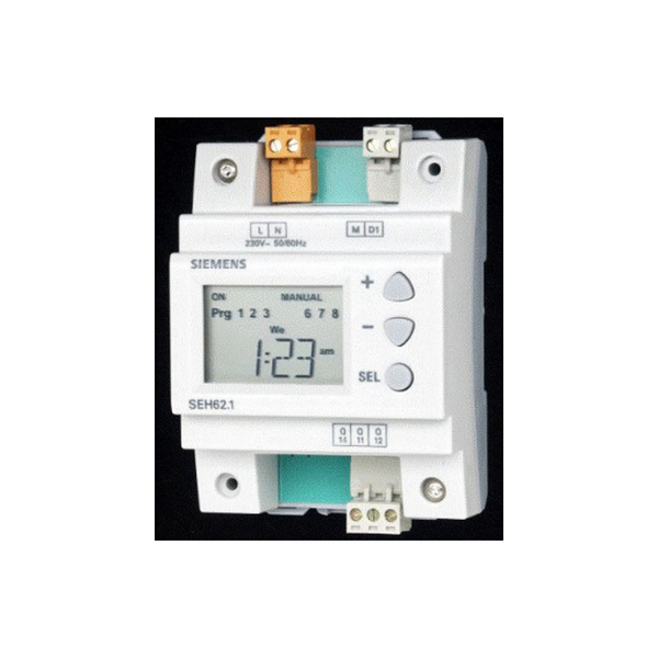 SEH62.1  Din rail mount/ 7 Day digital time switch with after hours run time.
