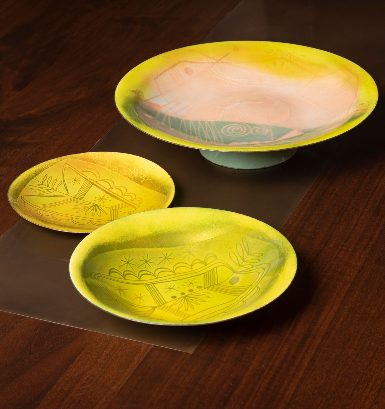 Enamel Plate, Bowl and Footed Platter Set